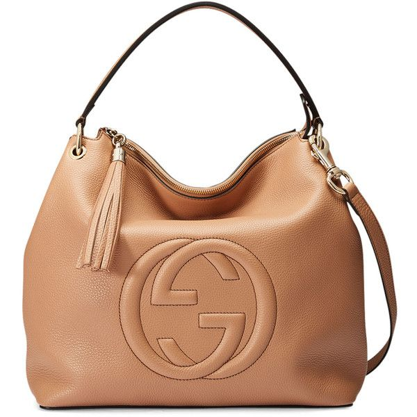68e4e455d40f Gucci Soho Large Leather Hobo Bag ( 1,980) ❤ liked on Polyvore featuring  bags, handbags, shoulder bags, camelia, genuine leather purse, leather hobo  ...
