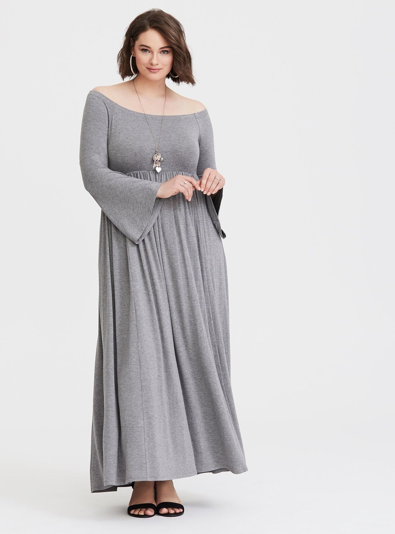 6cc7d290f66 Grey Off Shoulder Jersey Maxi Dress - An empire waist nips you in and  flares out creating an hourglass figure on a jersey knit maxi dress with  billowing ...