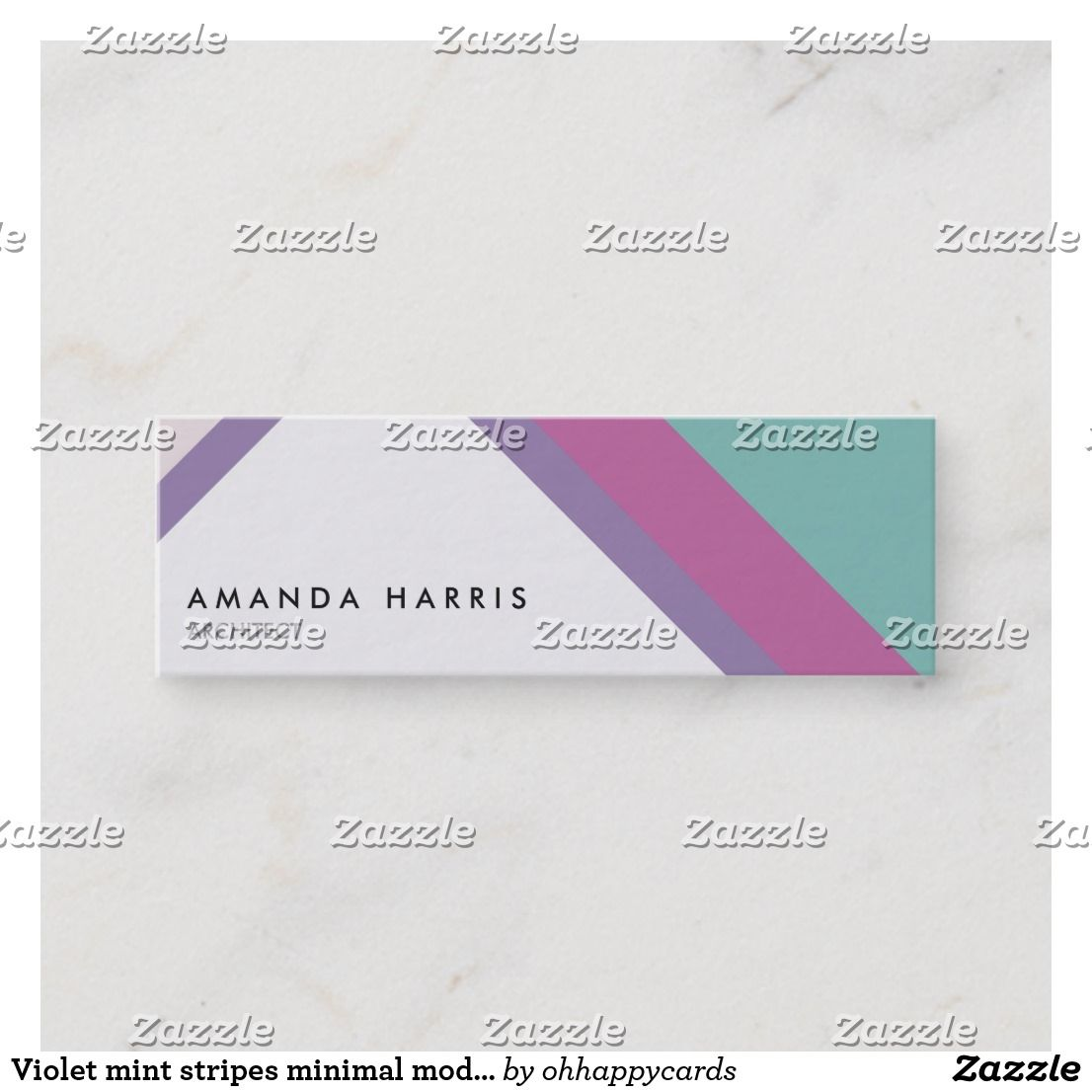 Minimal Violet Mint Stripes Modern Simple Chic Mini Business Card