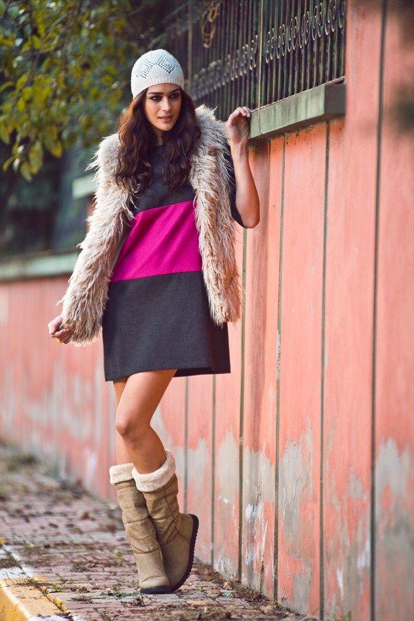 Oxxo Gri Pembe Elbise Ox Popduzel 49 Indirimle 39 99 Tl Trendyol Da Sokak Stili Pinterest