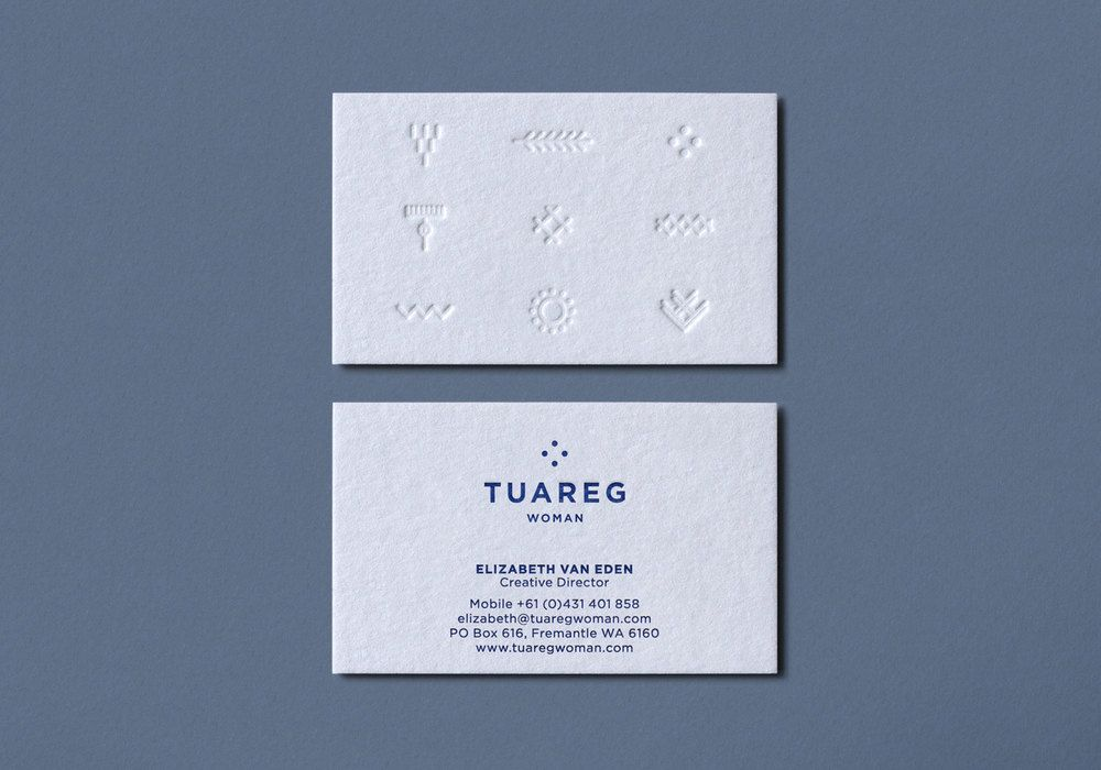 Blind embossed business card for Tuareg Woman designed by CloudyCo ...
