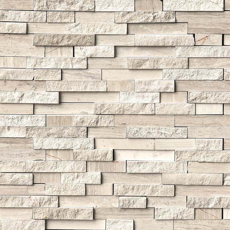 Smot Wq Sfil10mm White Quarry Splitface Interlocking Pattern Marble White Oak Athenssilvermarbl Muros De Piedra Interiores Muros De Piedra Fachada Con Cantera