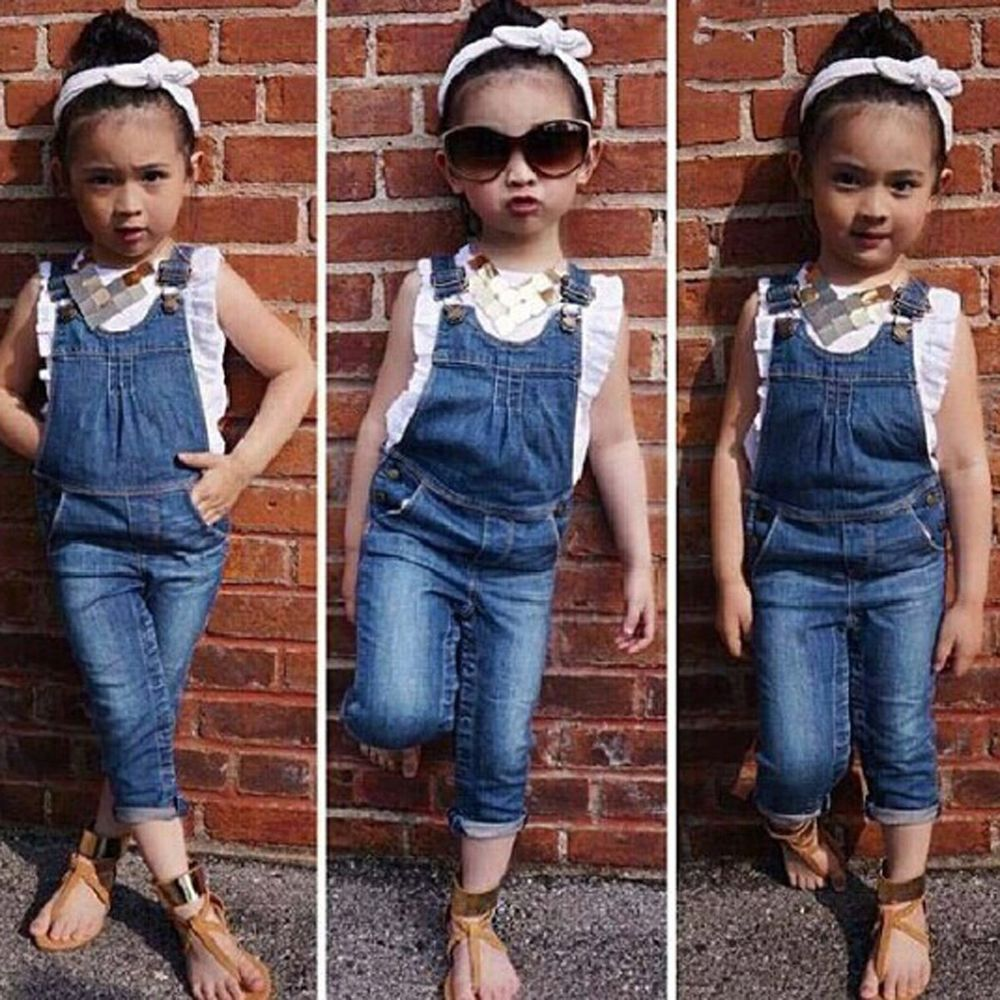 98c59ddbd8 2PCS Toddler Kids Baby Girls Outfits Clothes T-Shirt Tops+Denim Braces Pants  Set  Unbranded  DressyEverydayHoliday