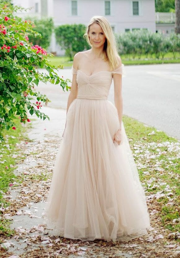 off-the-shoulder twisted layered nude tulle floor length wedding ...