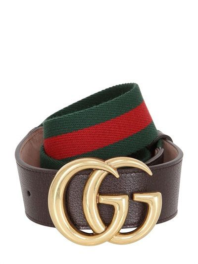 ce99822fe42 GUCCI - 40MM GG BUCKLE WEB   LEATHER BELT - BELTS - GREEN RED - LUISAVIAROMA