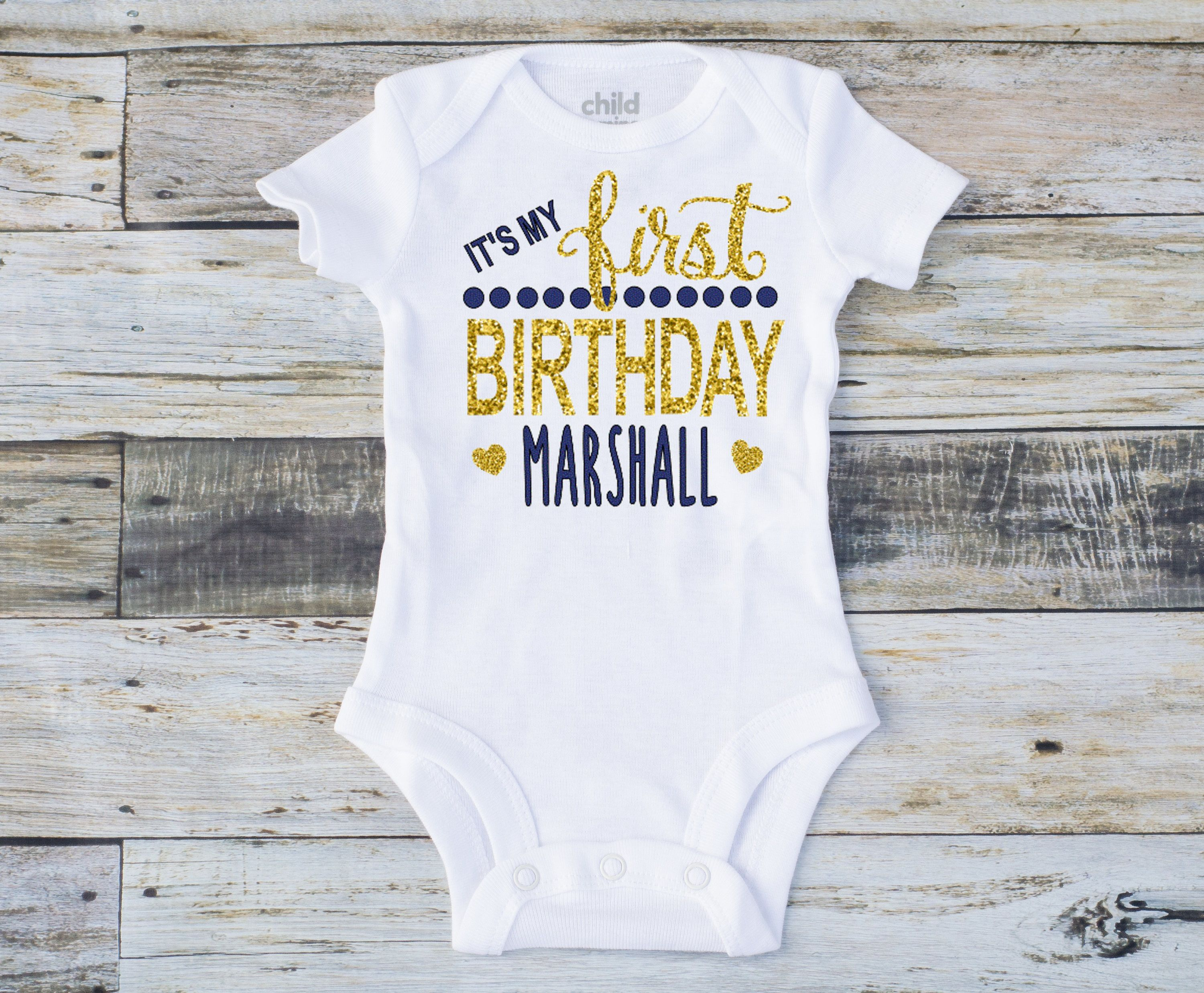 First Birthday Boy Personalized Name And Age Gold Blue Change Or Colors Baby Toddler Tee Bodysuit Top Shirt T Onesie By GumDropDarling On Etsy