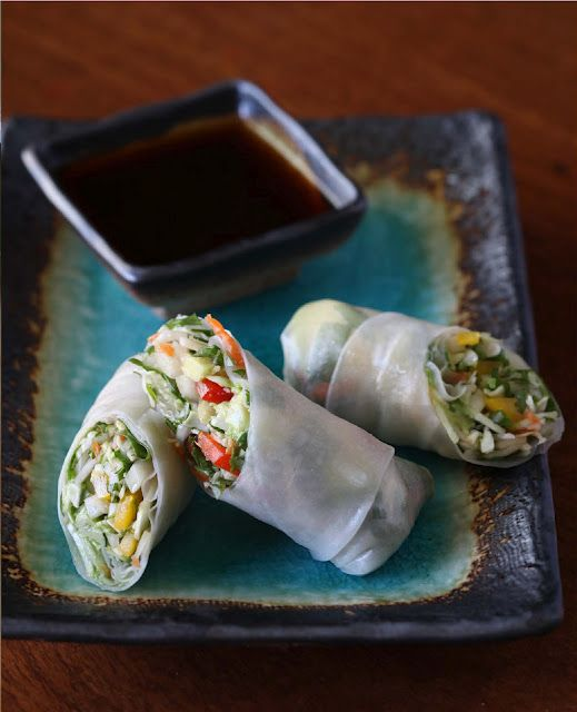 Spring Rolls with Dipping Sauce from Vegan Cooking for Carnivores by Roberto Martin, photo by Quentin Bacon