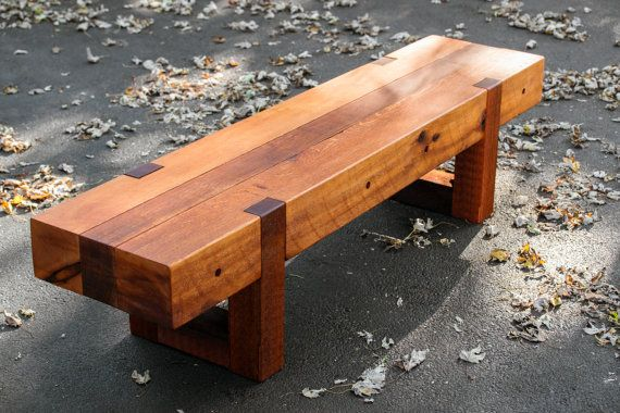 Wood Bench Rustic Modern Outdoor Patio Garden Cedar Log