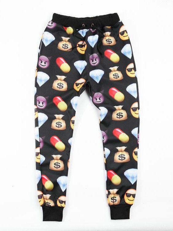 Men/Women Emoji Pants for sale Casual Emoji Printed Black Jogger ...