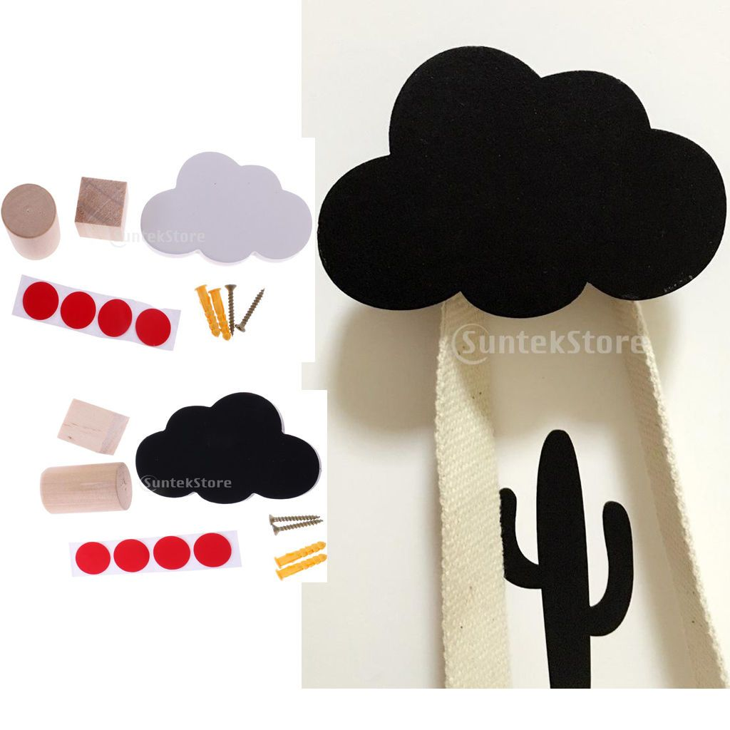 gbp cloud shape decorative kids coat hat bag diy wood wall
