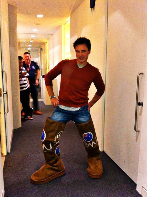 """I AM DONE ITS ALL OVER EVERYONE CAN GO HOME JOHN BARROWMAN IS POSING SUGGESTIVELY IN A PAIR OF THIGH-HIGH AUSTRALIAN UGG BOOTS THERE CAN NEVER AND WILL NEVER BE A BETTER PHOTO ON THE INTERNET <--- As if it's possible for John Barrowman to pose non-suggestively. <--That comment speaks the truth of everything John Barrowman related."