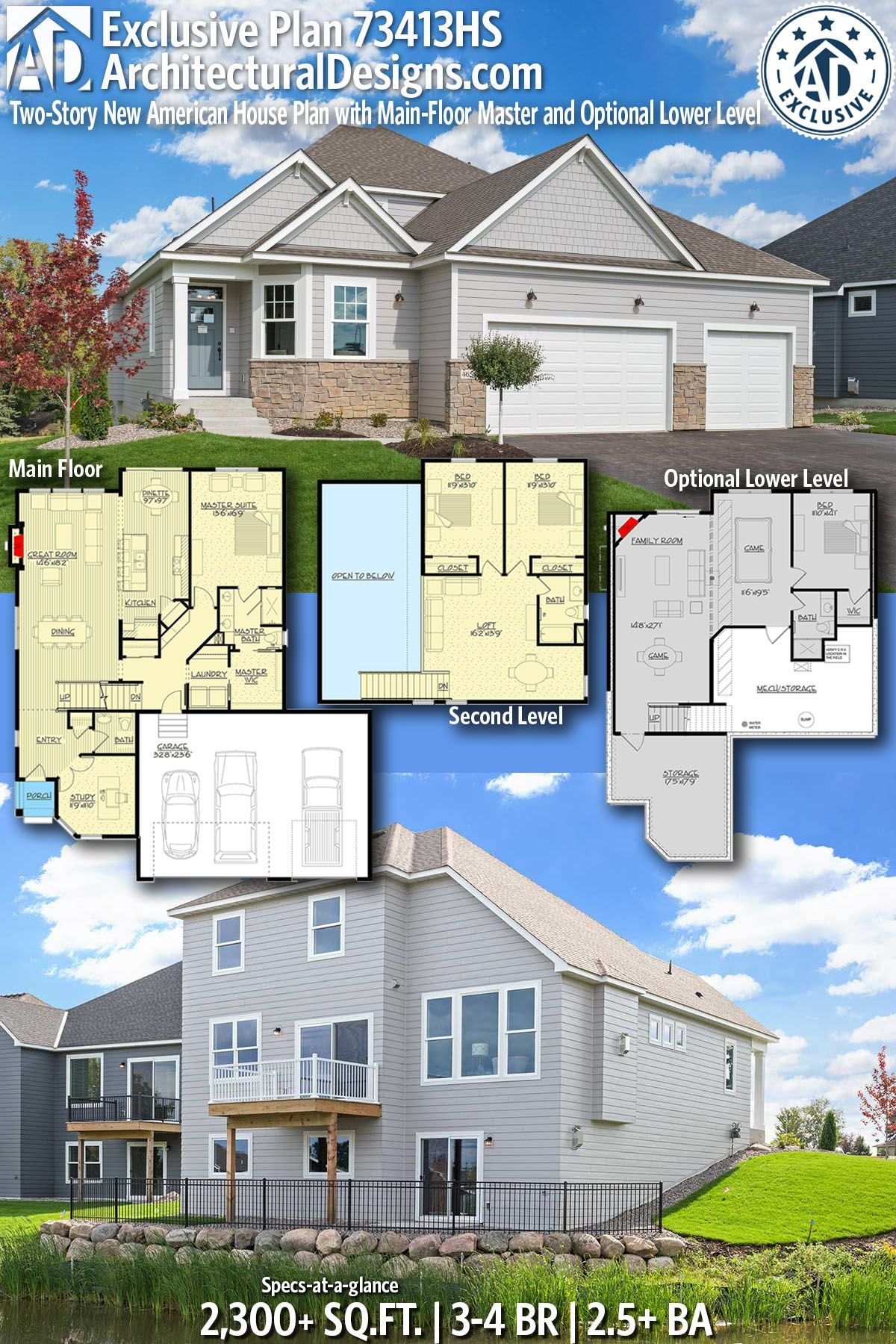 Plan 73413hs Two Story New American House Plan With Main Floor Master And Optional Lower Level House Plans Build Dream Home American Houses