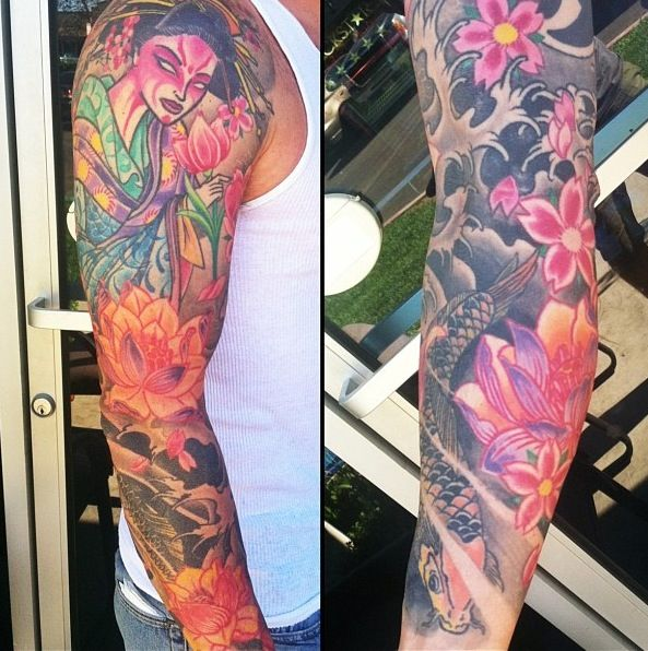 Japanese Style Sleeve Tattoo Geisha Lotus Koi Cherry Blossom Floral Tattoo Sleeve Arm Tattoo Sleeve Tattoos