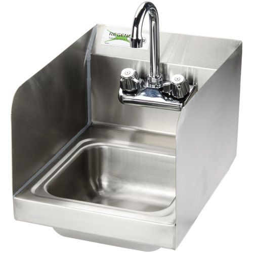 Regency 12 X 16 Wall Mounted Hand Sink With Gooseneck Faucet And Side Splash Sink Faucet Portable Sink
