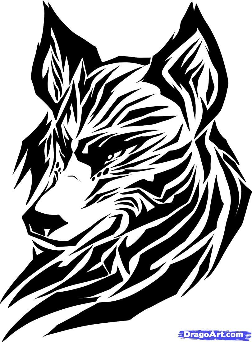 Draw A Tribal Wolf Tribal Wolf Step By Step Drawing