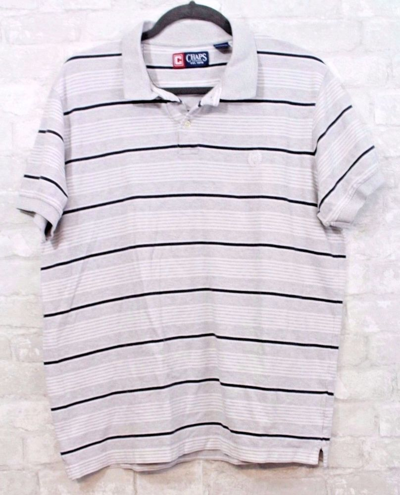Chaps menus polo shirt size l gray black striped short sleeve casual