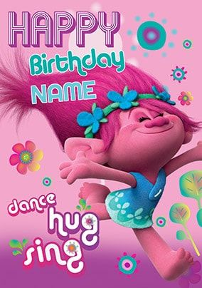 Trolls dance hug and sing birthday card girls birthday cards trolls dance hug and sing birthday card bookmarktalkfo Images
