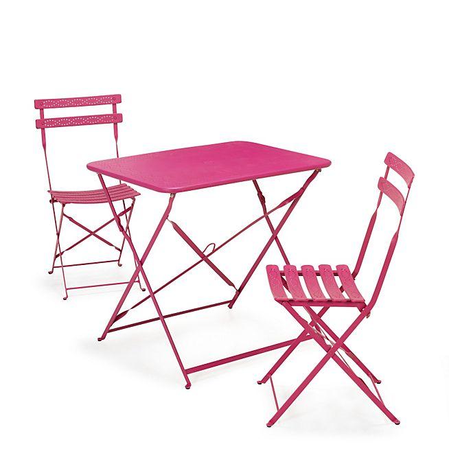 Perle Jardin Salon de jardin rose en acier 3 éléments