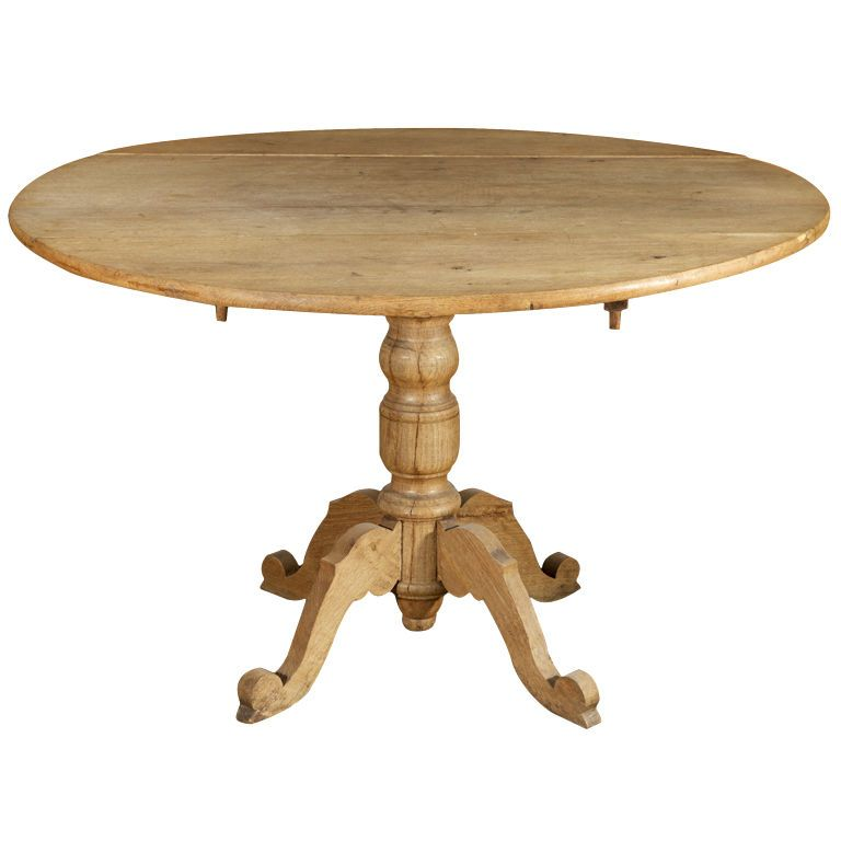 French Round Bleached Oak Drop Leaf Table