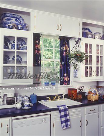 Kitchens White Cabinets Blue Laminate Counter Top Sink