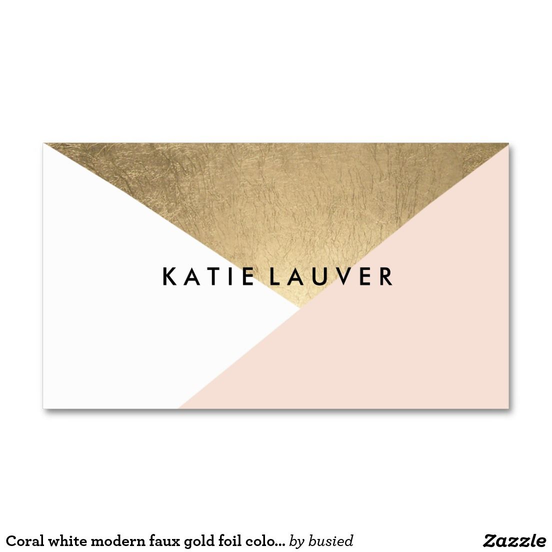 Coral white modern faux gold foil color block chic Double-Sided ...