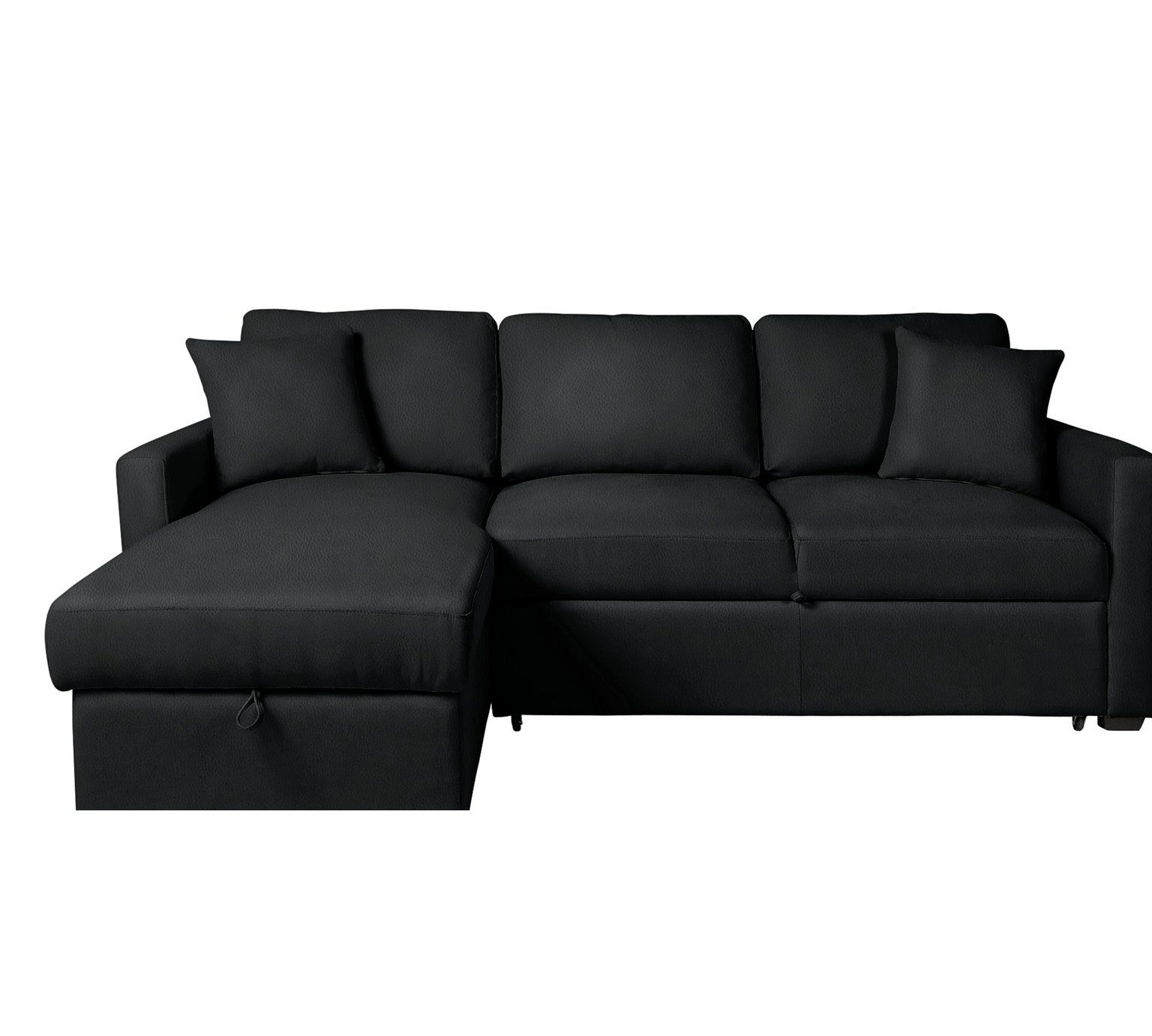 Awesome Home Reagan Left Corner Faux Leather Sofa Bed Black Pdpeps Interior Chair Design Pdpepsorg