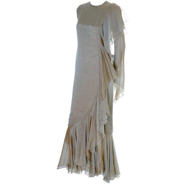 Preowned Bill Blass Vintage Dress Silk Chiffon Evening Gown ...