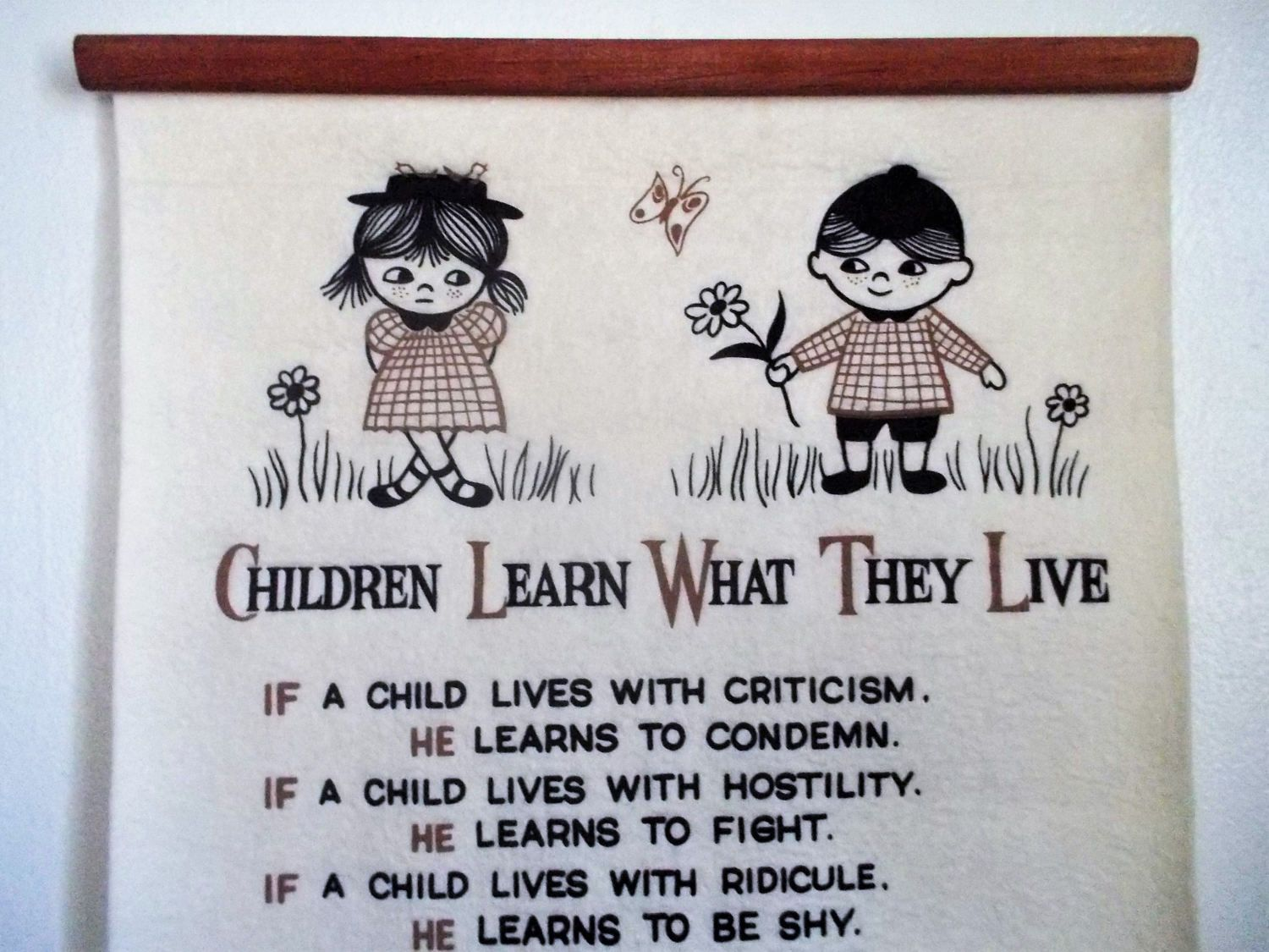 """1963 Dorthy Law Nolte """"Children Learn What They Live"""" Felt Scroll Wall Hanging by ObjetLuv on Etsy"""