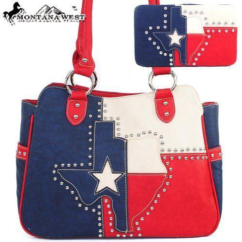 53 99amazon Com Montana West Cow Girl Texas Flag Handbag Studded Patch Western Shoulder Purse Withe Wallet Tx C Montana West Handbags Western Purses Handbag