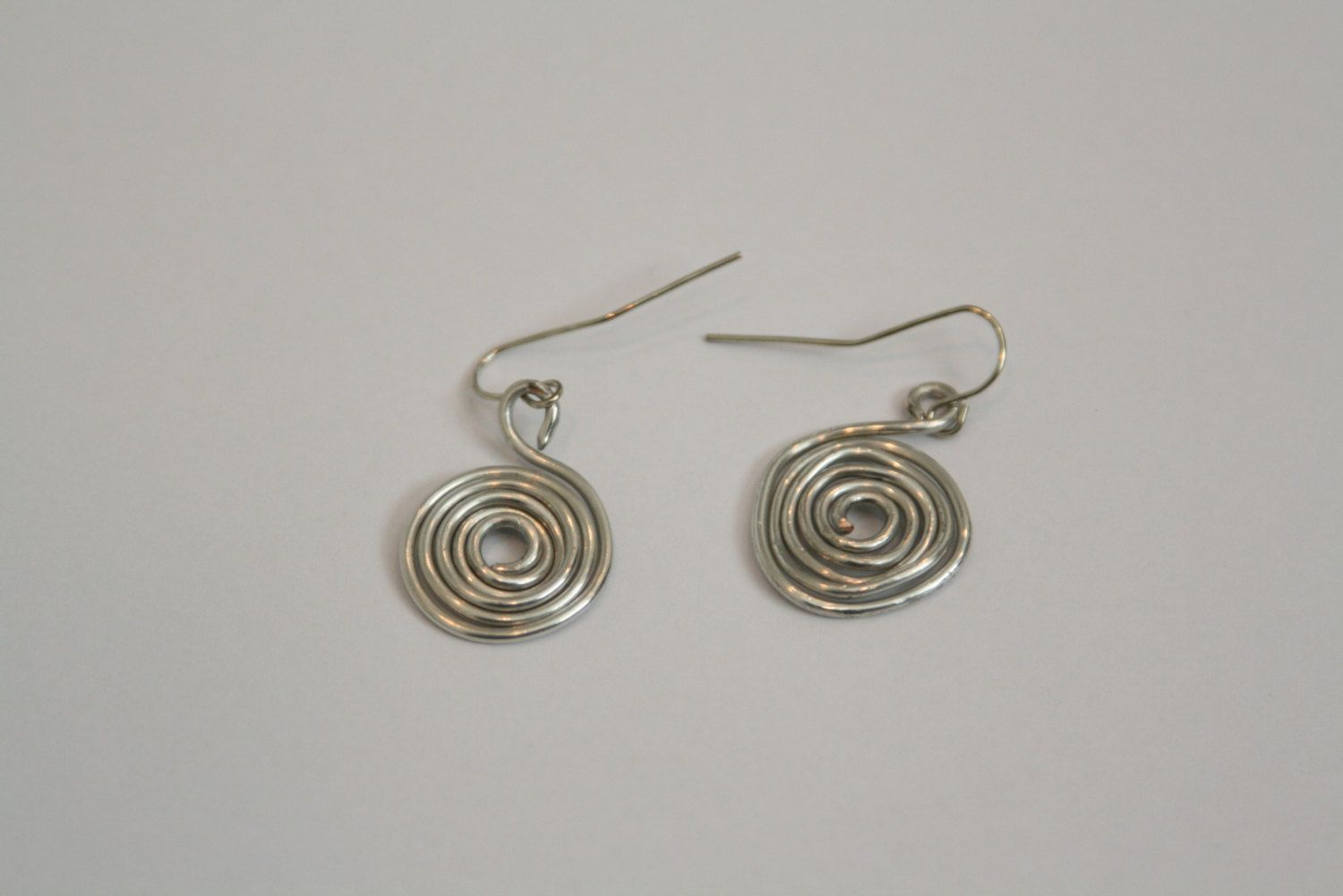 Handmade Silver Plated Copper Wire Spiral Earrings with Silver ...