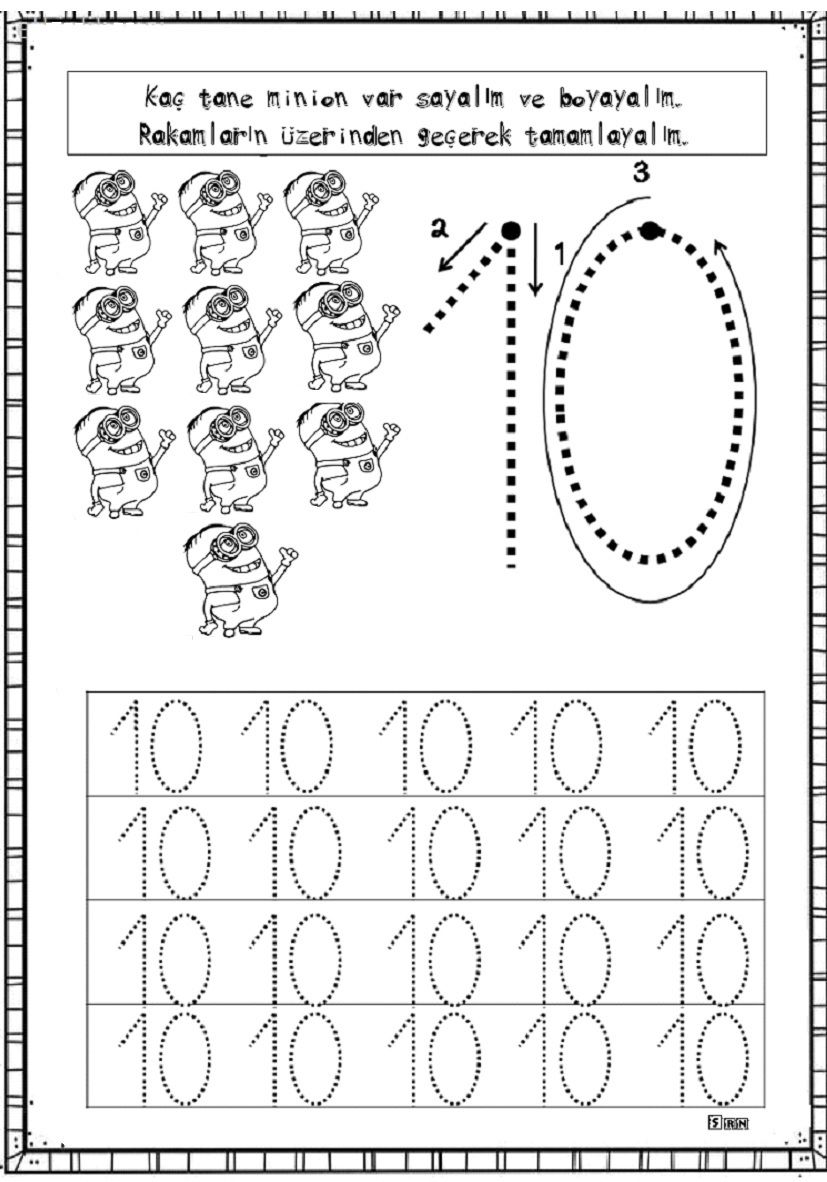 10 Rakamı çalışma Sayfalarım Math Ve School