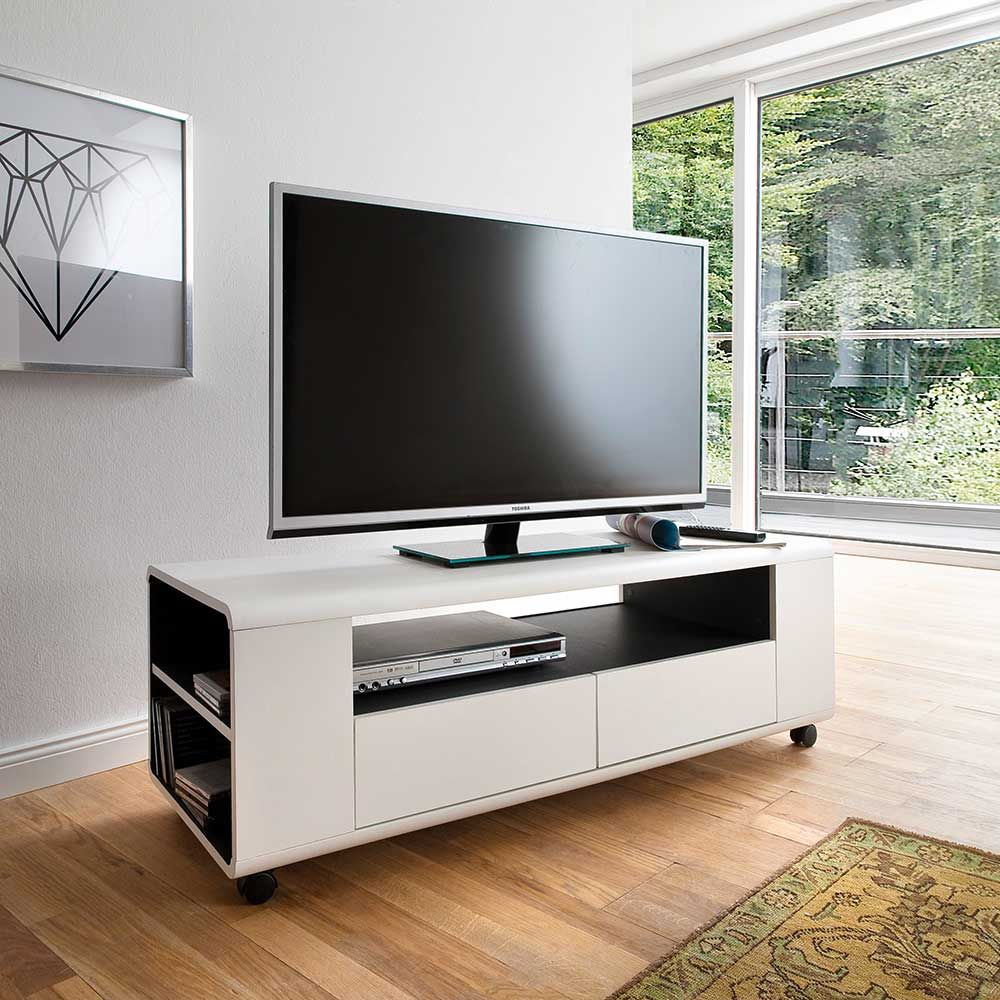 tv unterschrank mit rollen wei anthrazit jetzt bestellen unter. Black Bedroom Furniture Sets. Home Design Ideas