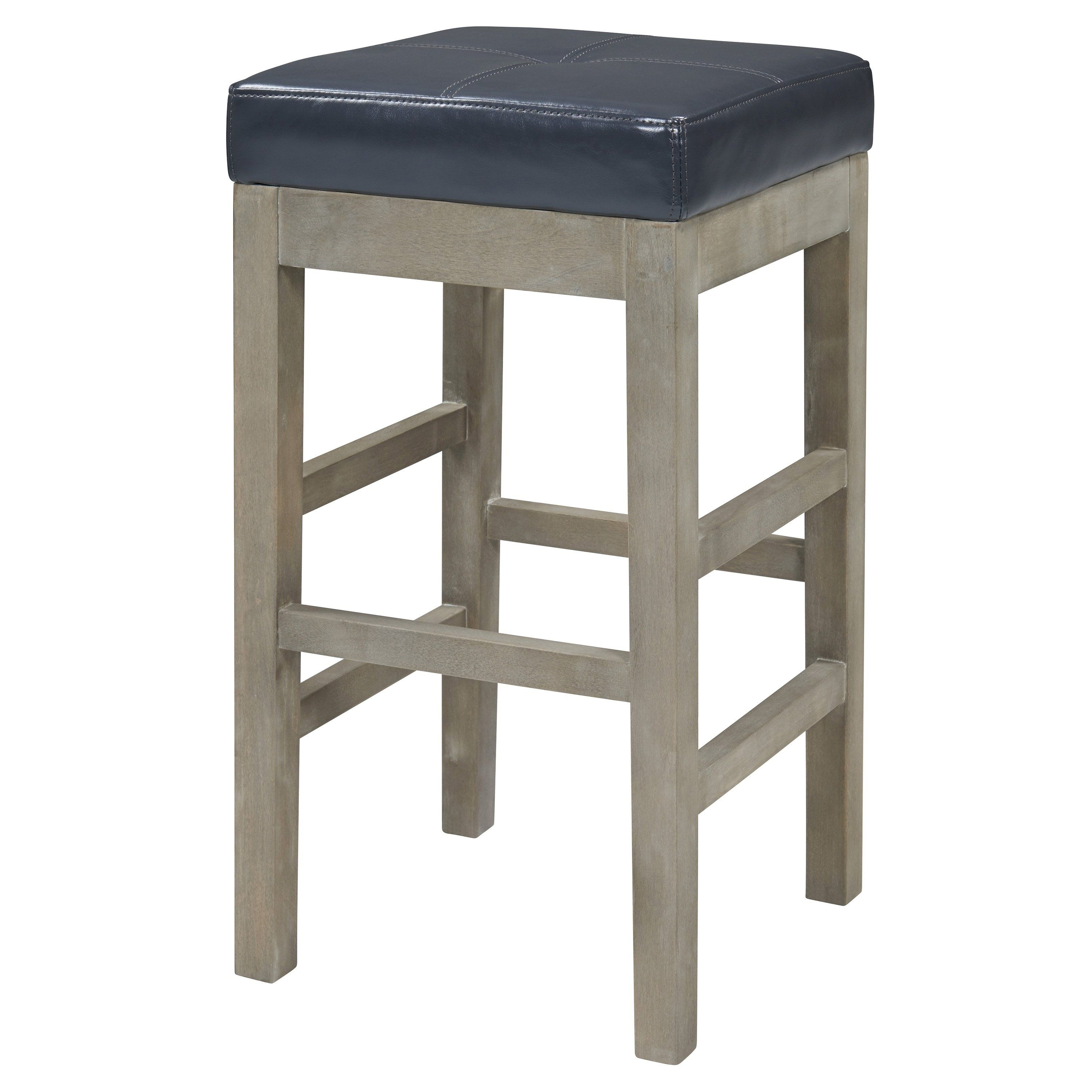 Valencia Bonded Leather Backless Counter Stool Black Backless
