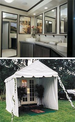 A Portable Toilet With A Flat Panel Tv Porta Potty Wedding Wedding Restroom Outside Toilet
