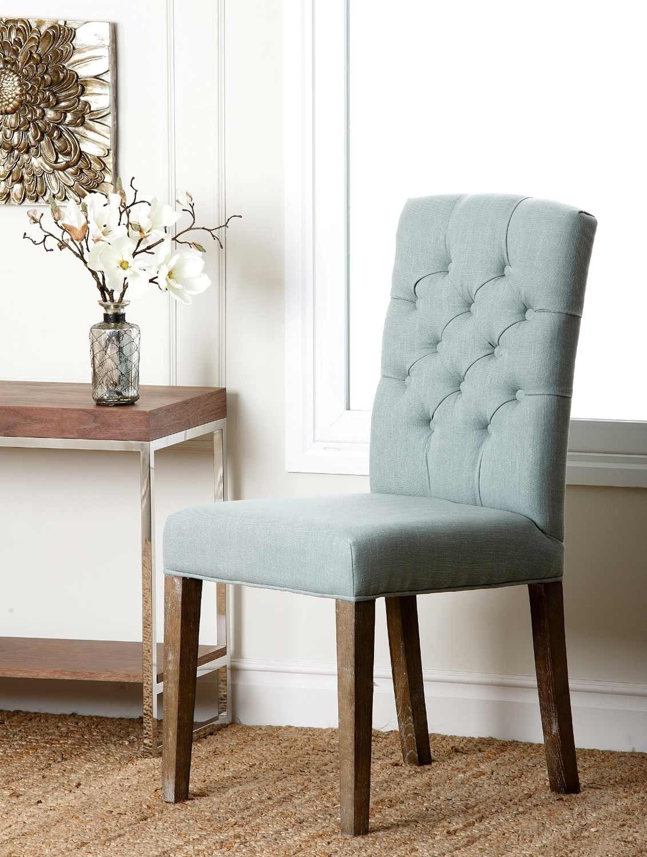 Princeton Linen Tufted Dining Chair Light Blue Interieur