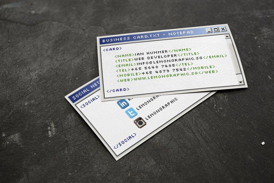 Notepad Programmer Business Card Business Card Design Cards Card Design