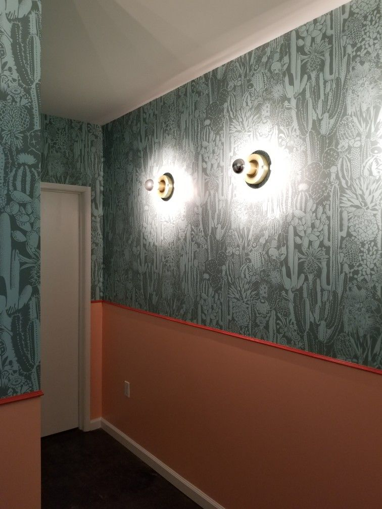 commercial chair rail outdoor wood rocking west elm wall sconces used in bathroom for form and function designer wallpaper custom paint scheme