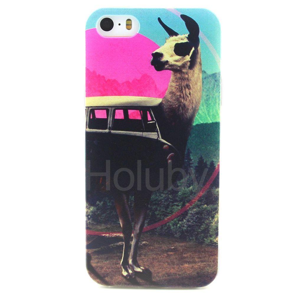 Farbige Zeichnung weiche TPU zurück Hülle für iPhone 5S 5 - Ziege