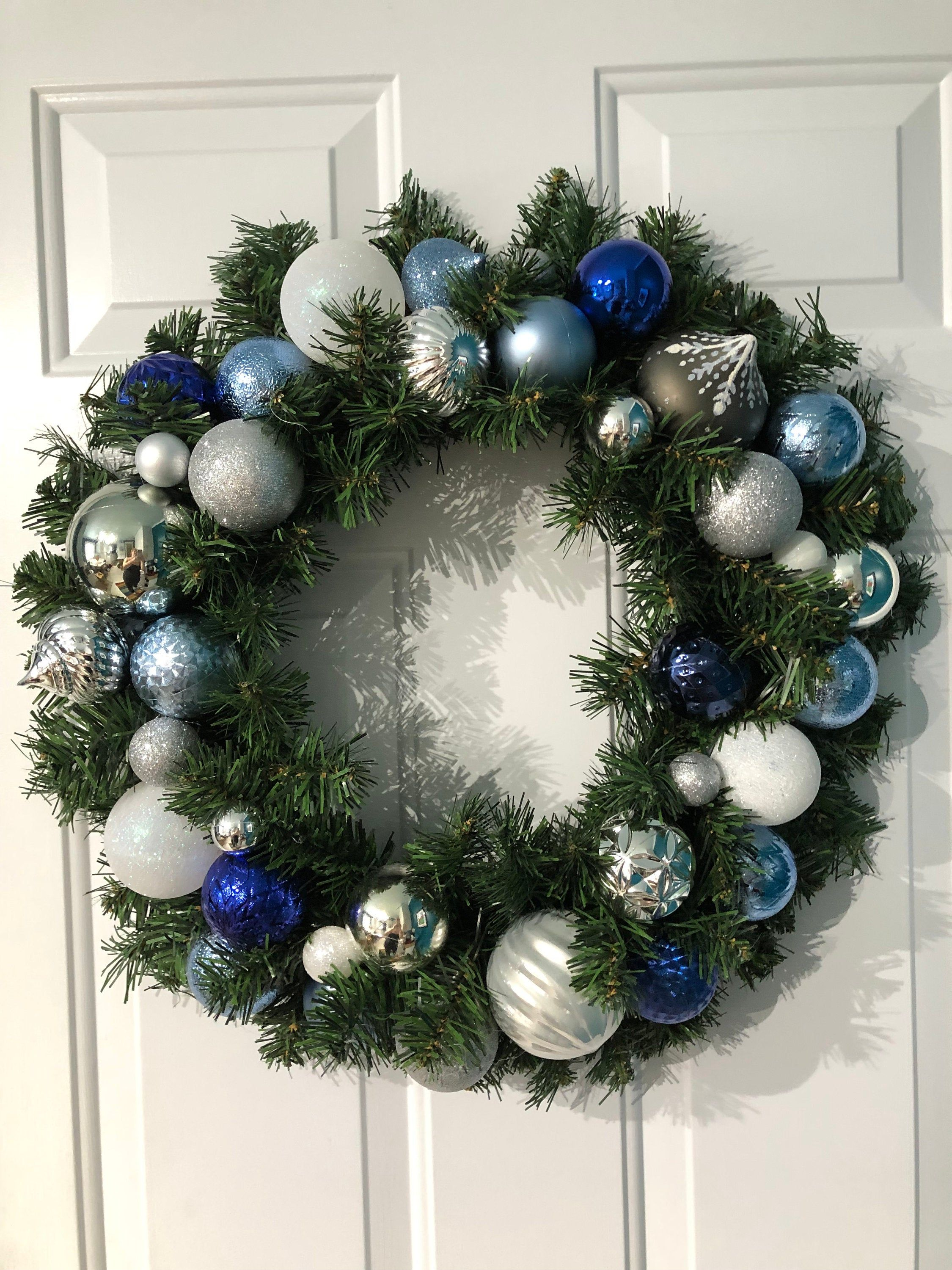 Extra Large Navy Ice Blue Silver White Faux Evergreen Christmas Wreath Large Navy Blue Front Door Christmas Wreath Icy Blue Holiday Wreath Christmas Wreaths Colorful Christmas Decorations Ribbon On Christmas Tree