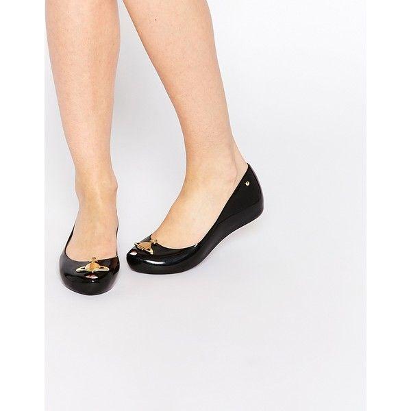 Vivienne Westwood For Melissa Ultragirl 14 Black Orb Flat Shoes (670 BRL) ❤ liked on Polyvore featuring shoes, flats, black orb, shiny black flats, shiny shoes, black polishable shoes, polish shoes and kohl shoes