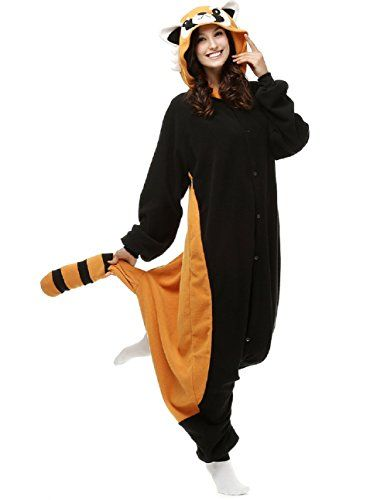 introducing ensnovo adult unisex fleece animal onesies pajamas halloween cosplay costumes raccoon s great product and follow us to get more updates