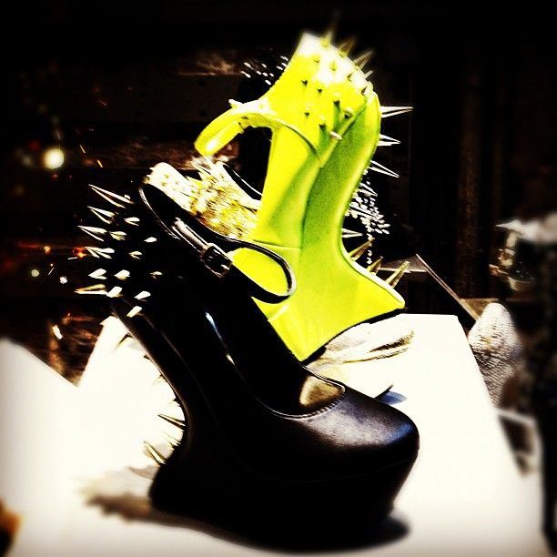 ZOMBIE Nation. #fashion #style #heels #shoes #black #wedges #neon #spikes #studs #hot #sexy
