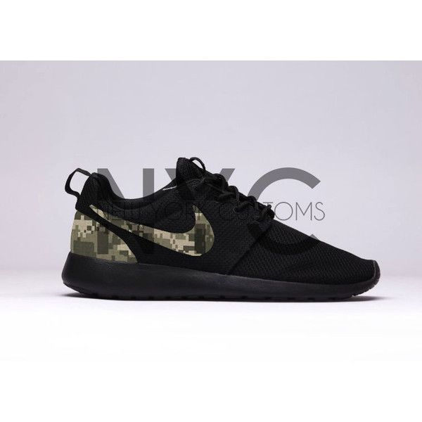 46f0dbaab62 Digi Camouflage Nike Roshe Run Triple Black Army Camo ($150) ❤ liked on  Polyvore featuring shoes, athletic shoes, grey, sneakers & athletic shoes,  ...