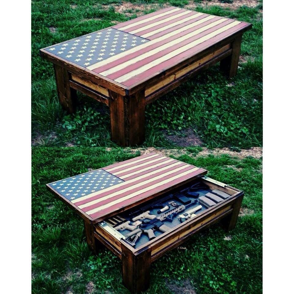American Flag Coffee Table Hidden Gun Case