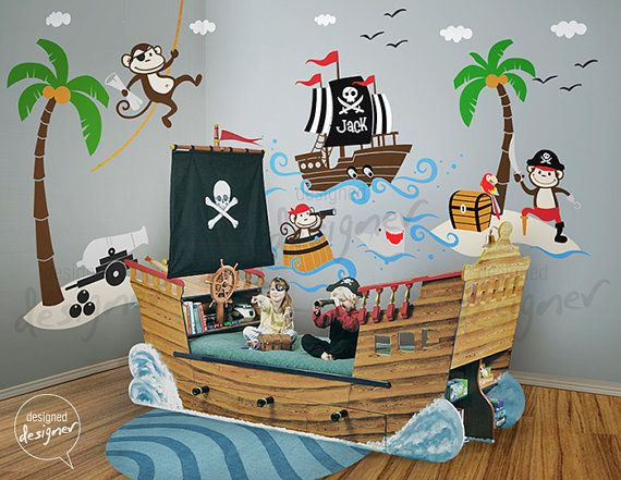 Pirates Wall Decal, Ship, Captain Jack, Monkey, Treasure