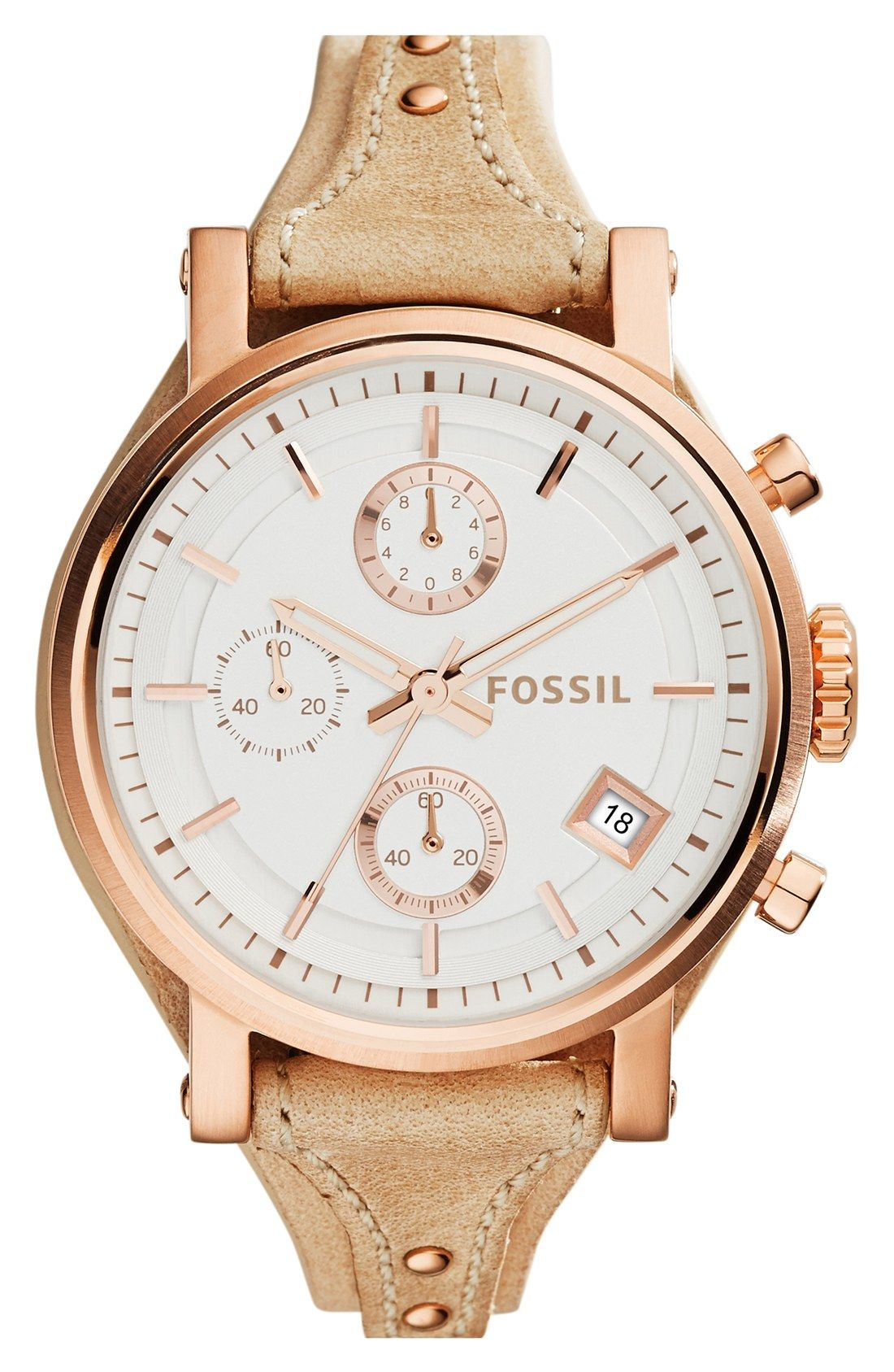70806d032fe2 Fossil  Original Boyfriend  Chronograph Leather Strap Watch