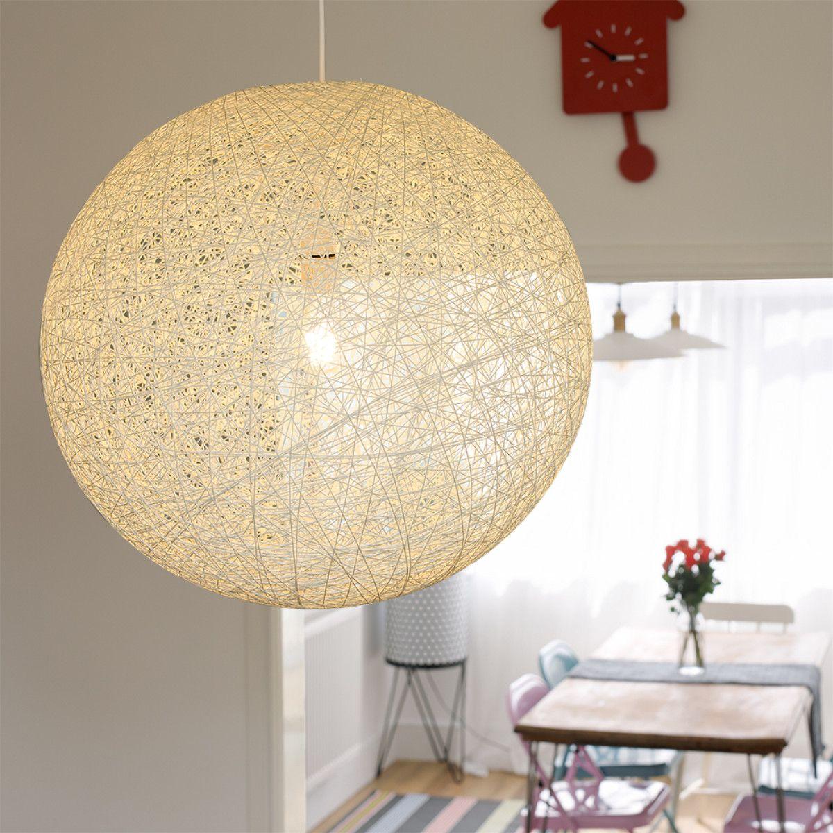 Iconic Bjorn Oversized Rattan Pendant Shade White Luminaire