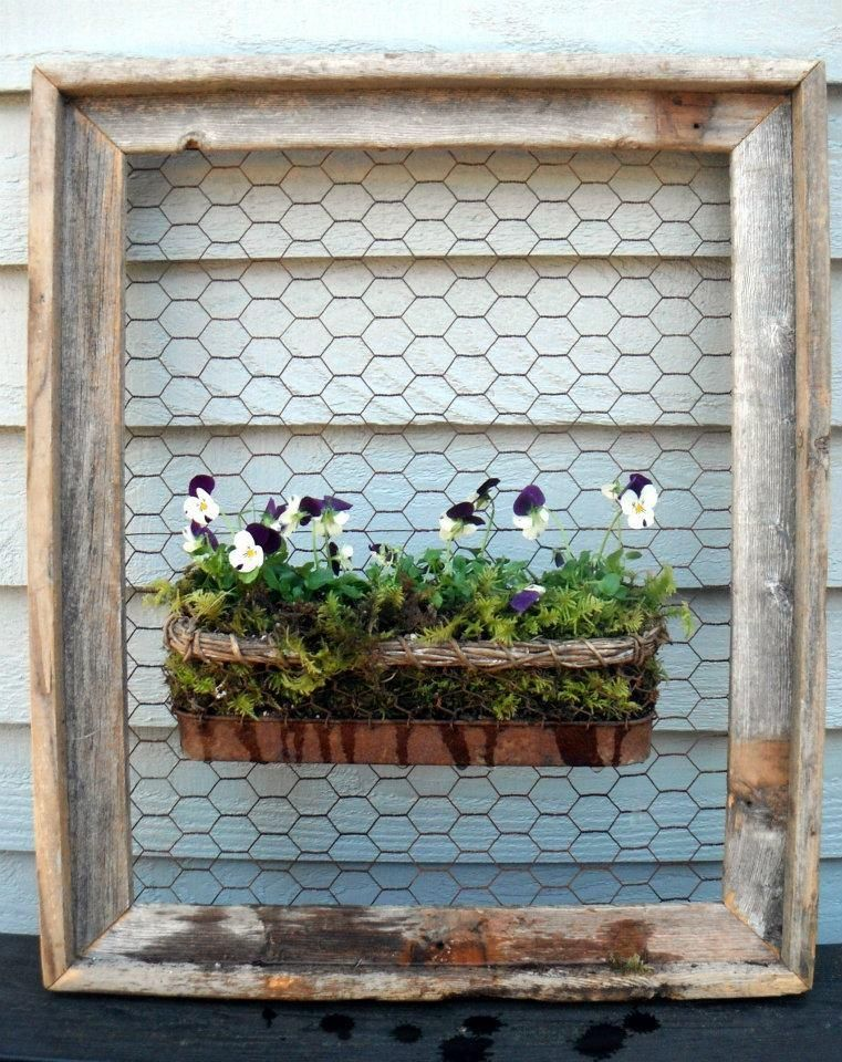 Barnboard frame, chicken wire and a rusted planter. | Garden ...