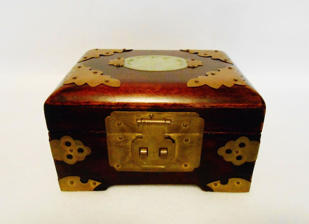 Chinese Jewelry Box Wood Brass and Jade w Red Silk Lining From
