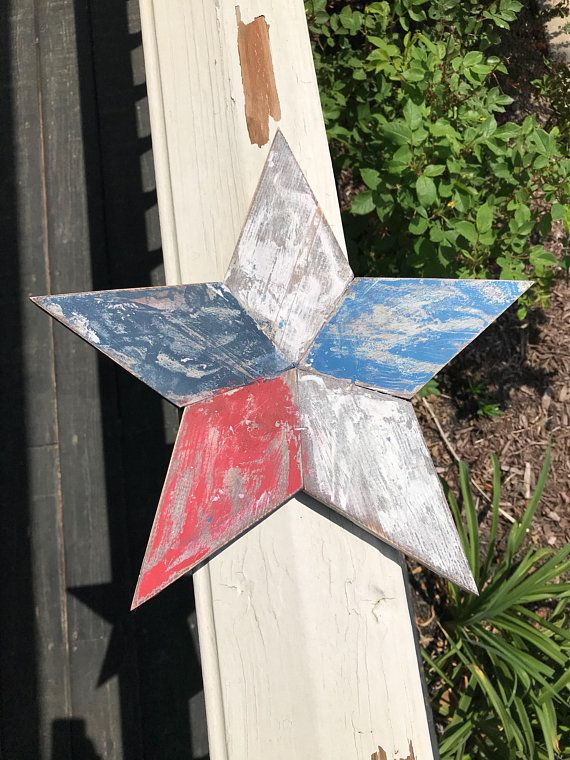 Red White And Blue Rustic Wood Star Wall Decor Primative Americana ...